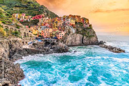 Photo sur Toile Ligurie Manarola, Cinque Terre National Park, Liguria, Italy