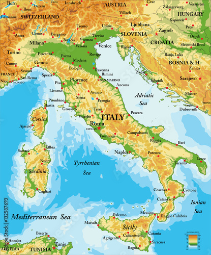 Italy relief map Wallpaper Mural
