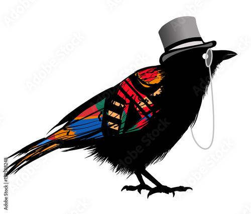 Tuinposter Art Studio Black raven with hat