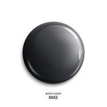 Vector Blank, Black Glossy Badge Or Web Button. Vector.