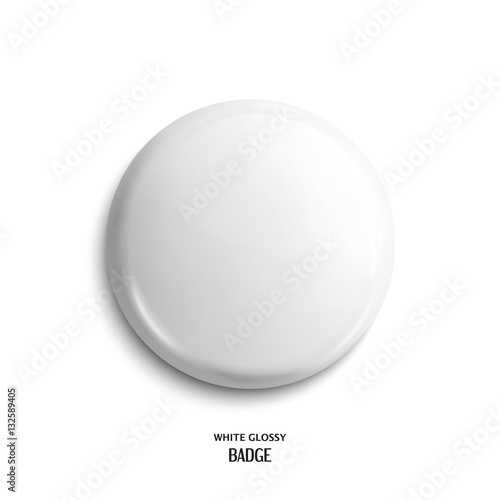 Fotografía  Vector blank, white glossy badge or web button. Vector.