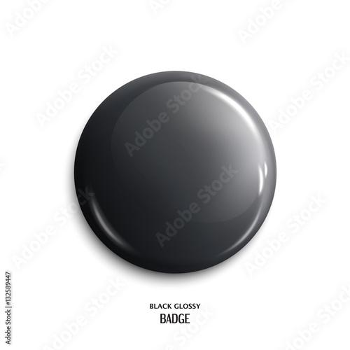 Fotografía  Vector blank, black glossy badge or web button. Vector.