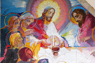 MEDJUGORJE, BOSNIA AND HERZEGOVINA, 2016/6/5. Mosaic of the institution of the Eucharist at the last supper by Jesus Christ as the fifth Luminous mystery.
