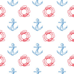 Seamless vector pattern with anchors and lifebuoys. Hand-drawn vector illustration.