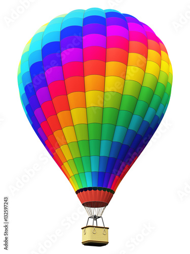 Poster Montgolfière / Dirigeable Color rainbow hot air balloon isolated on white background