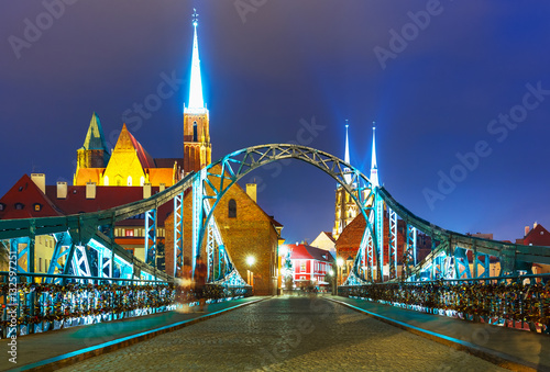 Night view of Wroclaw, Poland