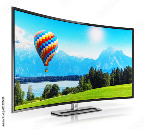 Foto  Modern curved 4K UltraHD TV