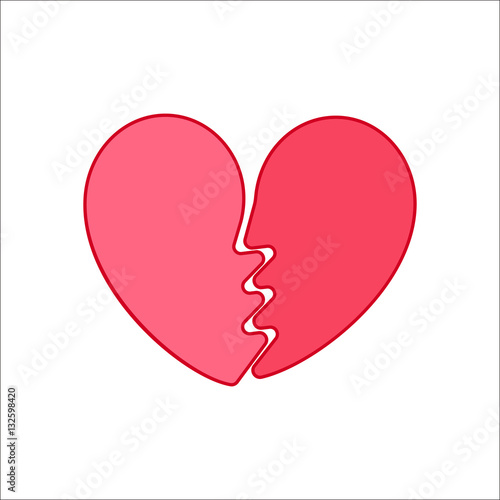 Broken Heart Symbol Flat Icon On Background Buy This Stock Vector