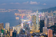 Hong Kong city downtown central business district skyline during twilight