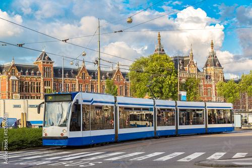 Photo  City tram in Amsterdam