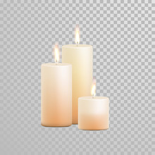 Decorative Candle Vector Isolated Set