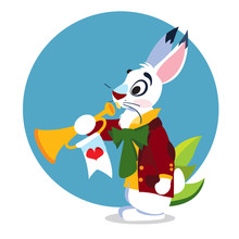 White Rabbit With A Pipe. Illu...