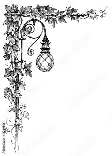 Fotografie, Obraz  Ivy corner decoration and street lamp