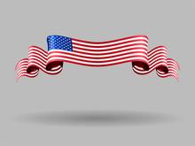 American Wavy Flag. Vector Ill...