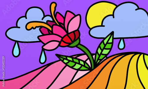 Poster Abstrait antique design with a colorful flower