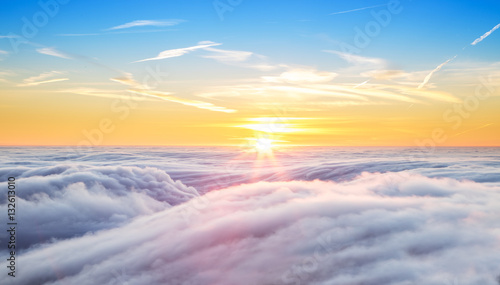 Canvas Prints Heaven Beautiful sunset above clouds