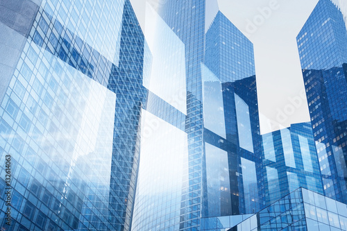 abstract business interior background, blue window double exposure, technology