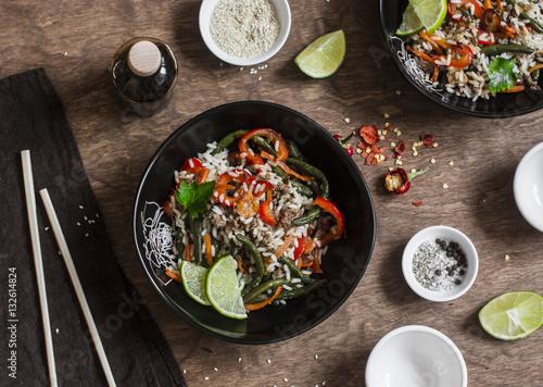 Photo  Pork, vegetables, rice stir fry