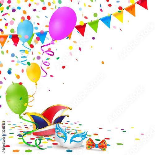 Karneval Kulisse Mit Konfetti Luftballons Und Fasching Accessoires