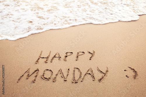 Happy monday greeting card on the sandy beach buy this stock happy monday greeting card on the sandy beach m4hsunfo