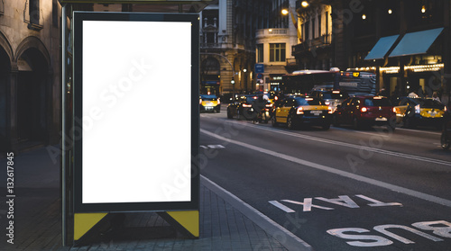 Blank Advertising Light Box On Bus Stop Mockup Of Empty Ad Billboard Night Station Template