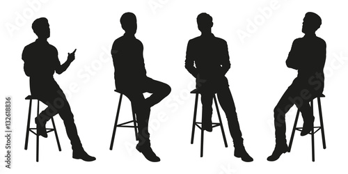 Obraz Sitting Man Vector Silhouettes - fototapety do salonu