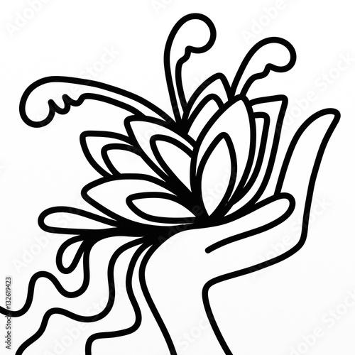 Foto auf Gartenposter Klassische Abstraktion flowers in hand in black and white