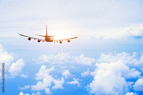 airplane fly in the sky, international passenger flight, travel concept backgrou Tablou Canvas
