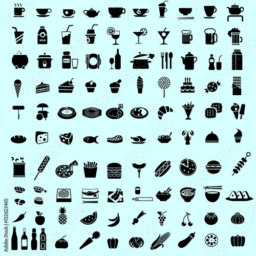 Set of food black icon and pictogram vector