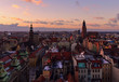 View on the Wroclaw old town at sunset Poland, Europe.