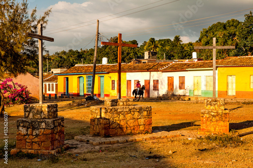 Fotobehang Zuid-Amerika land Colorful traditional houses in the colonial town Trinidad, Cuba