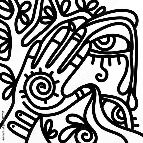 Foto auf Leinwand Klassische Abstraktion design with hand symbols in black and white