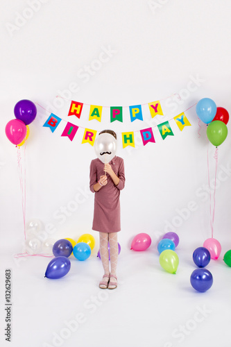 The Girl Covered Her Face With A Balloon Garland Happy Birthday White Background