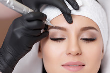 Permanent Makeup. Tattooing Of Eyebrows
