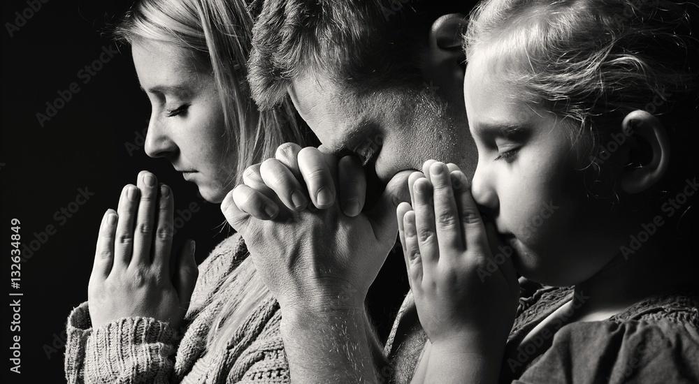 Fototapety, obrazy: Praying family. Man, woman and child.