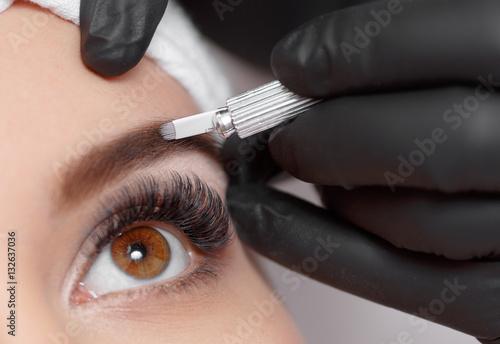 Photo  Permanent makeup eyebrows.