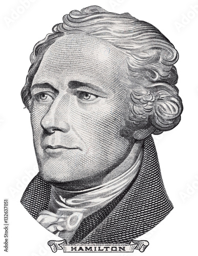 Photo Alexander Hamilton face portrait on US 10 dollar bill closeup isolated, United States of America money close up