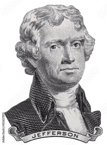 Fotografie, Obraz  US President Thomas Jefferson face on USA two dollar bill macro isolated, United