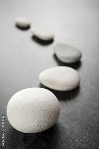 Fotomural  Curving Line of Grey Pebbles on Dark Background
