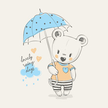 Cute Little Bear With Umbrella Cartoon Hand Drawn Vector Illustration. Can Be Used For Baby T-shirt Print, Fashion Print Design, Kids Wear, Baby Shower Celebration Greeting And Invitation Card.