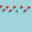 Leinwanddruck Bild - Hanging blue tiny heart contrast with many red hearts on pastel blue background. minimal concept idea.