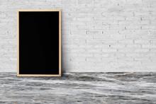 Blank Blackboard On White Tile Wall.