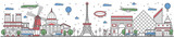 Fototapeta Fototapety Paryż - Travel in Paris city banner vector illustration. Worldwide traveling concept with famous modern and ancient architectural attractions. Paris cityscape panorama, historical landmark line design poster.