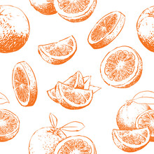 Orange Fruit Pattern Including Seamless On Background, Vector Clip Art