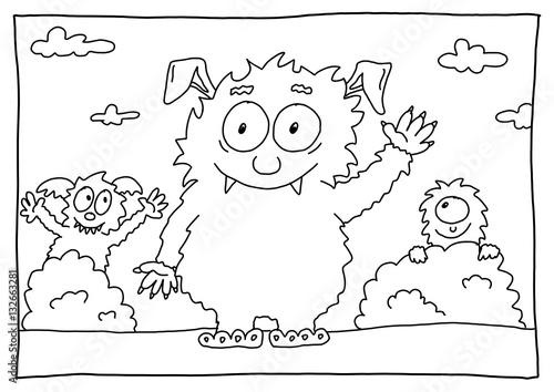 ausmalbild monster  cartoonbild