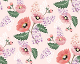 Wektorowa ilustracja bezszwowy kwiecisty wzór z wiosna kwiatami. Piękny kwiatowy tło w słodkich kolorach - 132667276