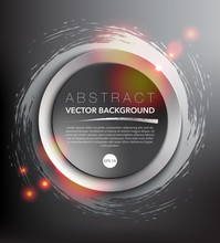 Abstract Vector Background. Round Paper Notes On The Silver, Hand-drawn Design With Realistic Light And Shadow On The Dark Background. Vector Illustration. Eps10.