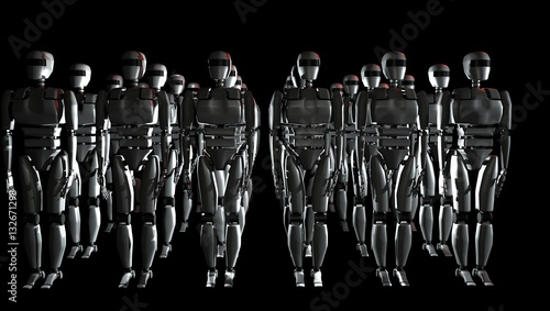 Fotografia, Obraz  Mass of many robots. 3D illustration