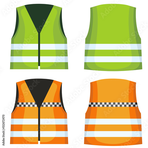 Cuadros en Lienzo Safety road vest, waistcoat with reflective stripes vector set