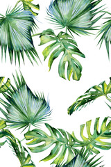 NaklejkaSeamless watercolor illustration of tropical leaves, dense jungle. Hand painted. Banner with tropic summertime motif may be used as background texture, wrapping paper, textile or wallpaper design.
